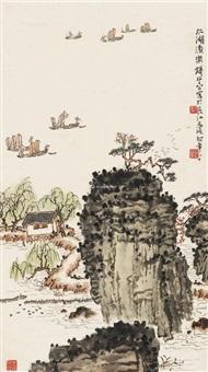 太湖渔乐 立轴 设色纸本 by qian songyan