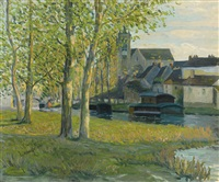 church at moret-sur-loing by ernest lawson