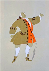 man in coffee coloured coat by erté