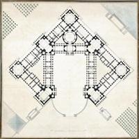 ensemble de six dessins pour un projet de château (6 works) by jean-augustin renard