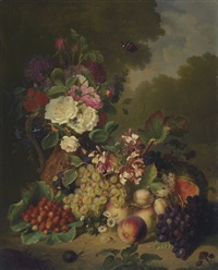 grapes, plums, strawberries, peaches, pumpkin, and summer flowers by ange louis guillaume lesourd-beauregard