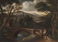 paesaggio fluviale con ponte durante la fuga in egitto by italian school-roman (17)