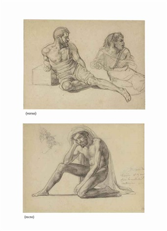 study for the father in the raft of the medusa recto two studies for the figure seated at the foot of the mast verso by théodore géricault