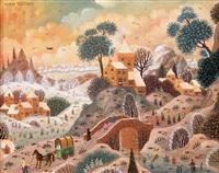 paysage hivernal au chariot by alain thomas