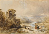 travellers resting by ruins by charles bentley