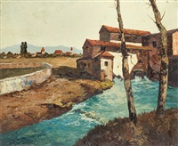 old mill by arno river by georg arnold