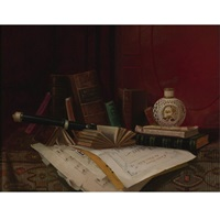 still life with books, clarinet and music by nicholas alden brooks