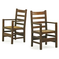 ladderback armchairs with rush seats (pair) by gustav stickley
