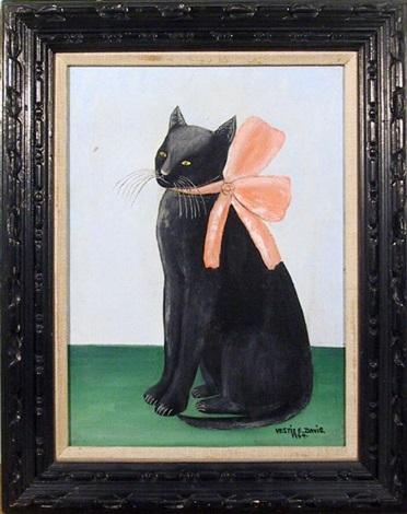 cat with pink bow by vestie e davis