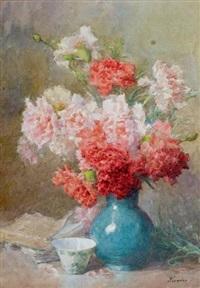vase de roses et d'oeillets by françois rivoire