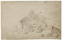 la sangle brisée (+ a sketch for the young woman falling from the horse, verso) by jean honoré fragonard