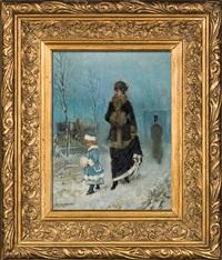 winter walk by henryk piatkowski