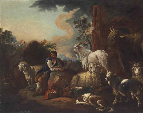 a goatherd in an italianate landscape with a rider in the distance by philipp peter roos