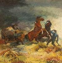 horses in a storm by josef maria svoboda