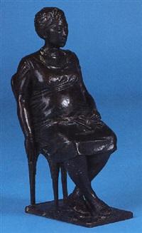 maría teresa embarazada sentada en una silla by jesús caulonga pereira