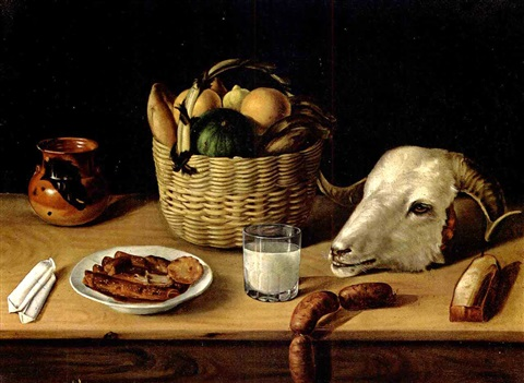 still life with rams head by josé agustín arrieta