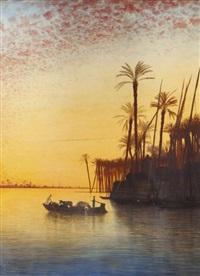 crépuscule sur le nil à siot, haute-egypte by charles théodore (frère bey) frère