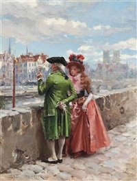 a stroll by the seine, paris by henri victor lesur