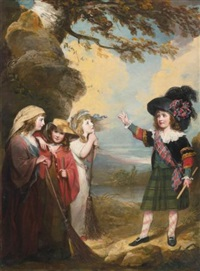 four children playacting as macbeth and the three witches by john westbrooke chandler