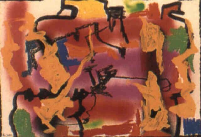 20b731b6d2d42 Komposition i pink, rdt, orange og sort by Robert Jacobsen on artnet