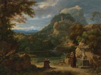 saint anthony of padua introducing two novices to friars in a mountainous landscape by francois-xavier fabre