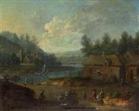 paysage de campagne à la rivière (+ paysage de campagne au puits; 2 works) by marc baets