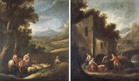 jacob and his household journeying to meet esau (+ laban searching for the images of jacob as secreted by rachel; pair) by francisco antolínez