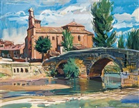 iglesia junto al puente by manuel alcorlo