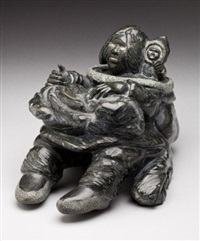 seated mother with a child in her hood by moses aupaluktuk