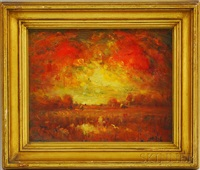 fiery sunset by henry hammond ahl