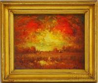 fiery sunset by henry hammond ahl