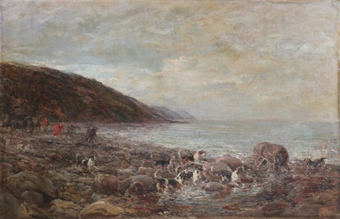 dogs cornering a stag on a rocky coast by heywood hardy