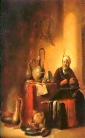 an interior with a seated man wearing a turban by willem bartsius