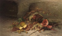a pineapple, a watermelon, a peach and grapes in a basket by nel (nelius) grönland