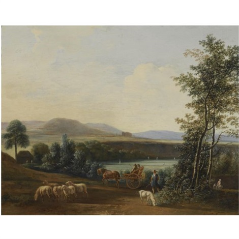 an extensive hilly landscape with a horse drawn carriage with elegant figures riding along fields a shepherd with his flock of sheep in the foreground by gerrit adriaensz berckheyde