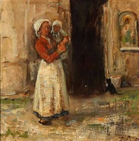 italian woman with a child in her arms by julius paulsen