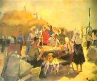 la pause des moissonneurs, 1947 by tamara gladkaia
