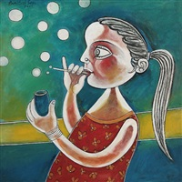 young girl making soap bubbles by paritosh sen