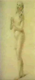 a study of a full length standing nude her hands clapsed in prayer by frans pietersz de grebber