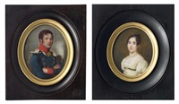 portraits du comte et de la comtesse albert de croyer (2 works) by josef heigel