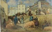 scène de marché à pont-croix by emile joseph jules simon