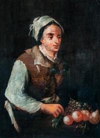 nő gyümölcskosárral by giacomo francesco cipper