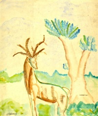 deer in a landscape by avraham melnikov