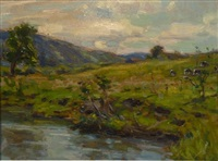 cows in a landscape by frank townsend hutchens