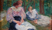 impressionistic scene of two women by hippolyte petitjean