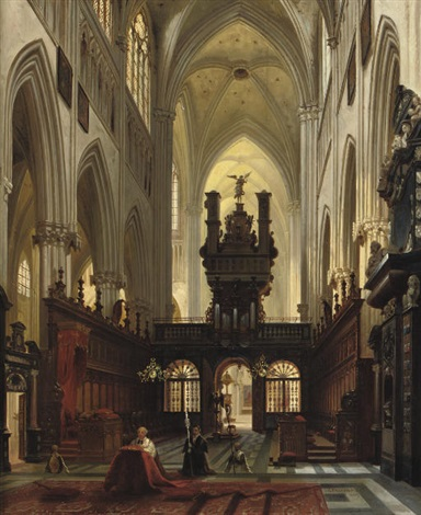 a gothic church interior by jules victor genisson