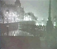 prague at night and canal scene by vladimir jindrich bufka