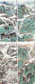 四季山水 (landscape of the four seasons) (in 4 parts) by xu jianming