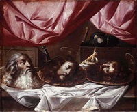 the heads of saints paul, john the baptist and james the great on platters on a draped ledge by sebastian de llanos valdes