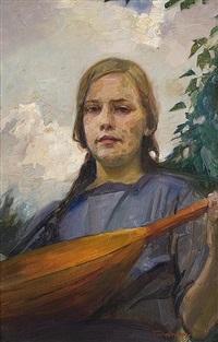 mädchen mit mandoline by ludwig carl wilhelm fahrenkrog